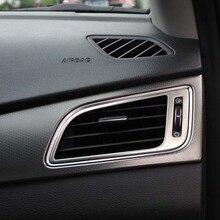 Inferior do carro guarnição inoxidável Escovado tomada de ar condicionado decoração círculo capa 2 pcs para Hyundai Sonata 2015 acessórios