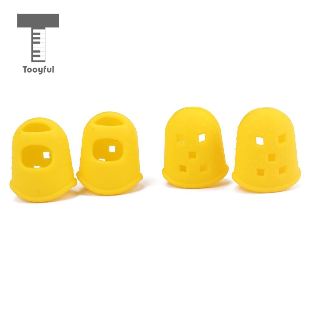 Tooyful 4pcs Guitar Thumb Finger Picks Protector Silicone Finger Guards for Guitar Lover Beginner