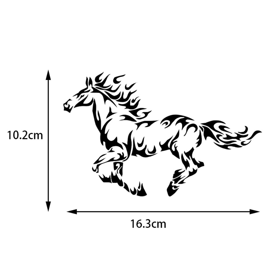 Fire Flame Horse Cool Car Stickers Styling Sticker Personality Car Body Decal LaserBlackSilver (2)