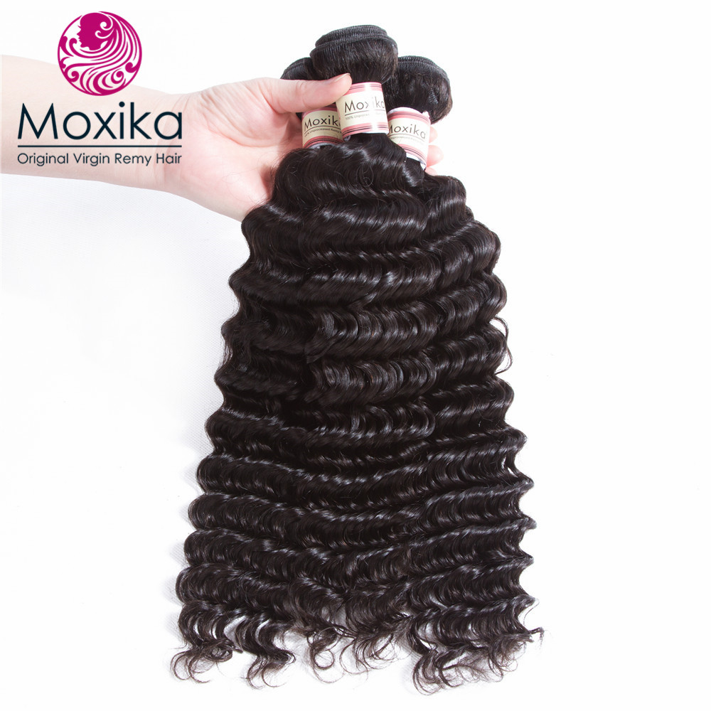 Human Hair Weaves Hearty Moxika Hair Brazilian Deep Wave Human Hair 3 Bundles 100% Ocean Wave Hair Weaves Can Be Straighten Dyed Permed 8-28inch Remy Products Are Sold Without Limitations Hair Extensions & Wigs