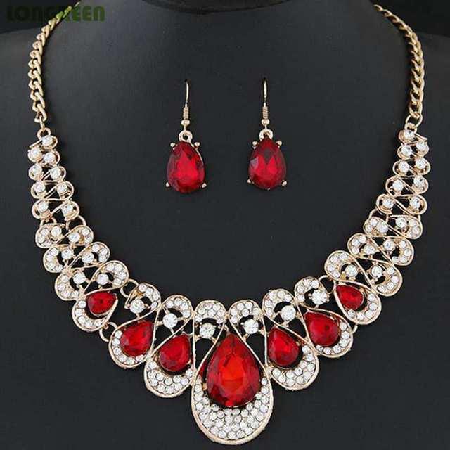 Multicolor Crystal Zircon Water Drop Jewelry Sets for Women Bridal Wedding bijoux africain parures 1
