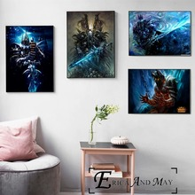 цена на Lich King WOW Game Artwork Vintage Posters and Prints Wall art Decorative Picture Canvas Painting For Living Room Home Decor