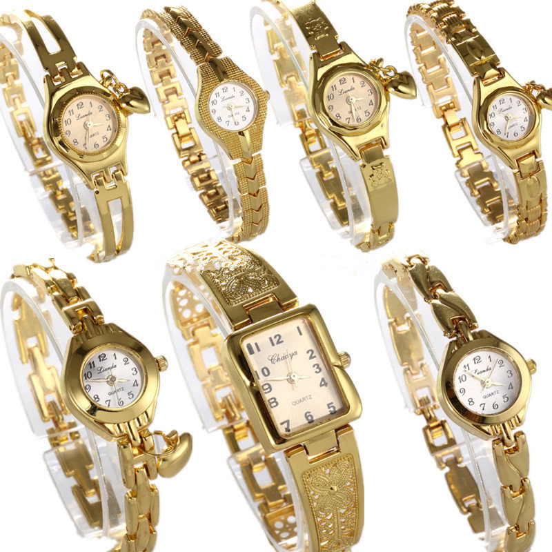 Women Watches Round Dial Hot Sale Gold Plate Watch Stainless Steel Quartz Hour Female Wrist watches elegant mujer hot relojes