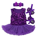 Presente do bebê recém-nascido definir 2017 lantejoula fantasia bebe infantil princess dress menina rendas tutu romper sapatos headband do 3 pcs batismo dress