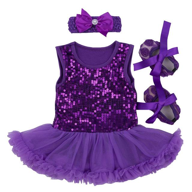 Presente do bebê recém-nascido definir 2017 lantejoula fantasia bebe infantil princess dress menina rendas tutu romper sapatos headband do 3 pcs batismo dress