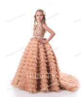 Elegant Champagne Tulle Layers Flower Girl Dresses Girls' Pageant Dresses Birthday Princess Dress Custom Made Size 2 14 F18301
