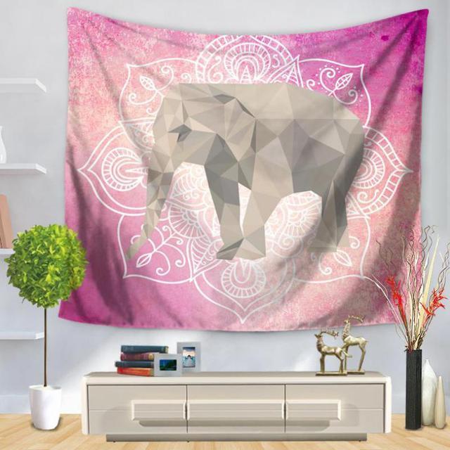 Custom Indian Mandala Elephant Tapestry Home Decor Bedroom Cartoon ...