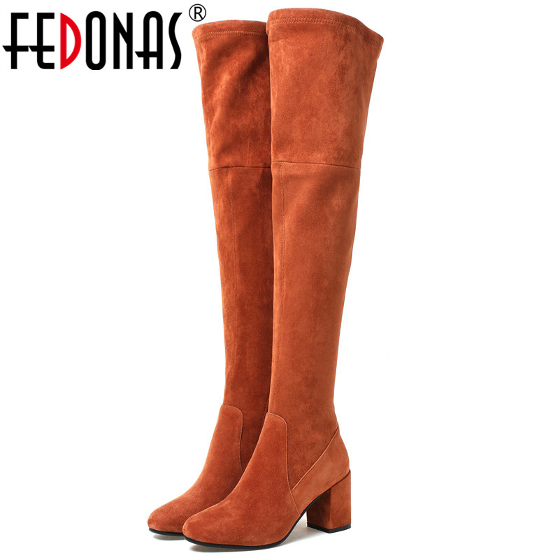 FEDONAS Fashion Brand Women Over The Knee High Boots High Heels Warm Long Winter Shoes Woman Sexy Tight High Knight Boots Shoes все цены