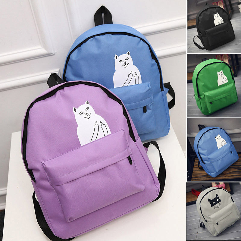 New Fashion Girl Womes Canvas Lovely Cat Backpack Travel Satchel Rucksack School Book Bag Free Shipping