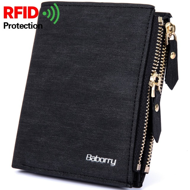 New Men Wallet Pu Leather Rfid Blocking Fashion Purse Ideny Protection