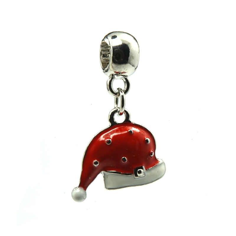 Boże narodzenie kapelusz srebrny wisiorek, czerwony i biały emalia Charms koraliki europejskie Fit Pandora Charms bransoletki i naszyjnik DIY biżuteria