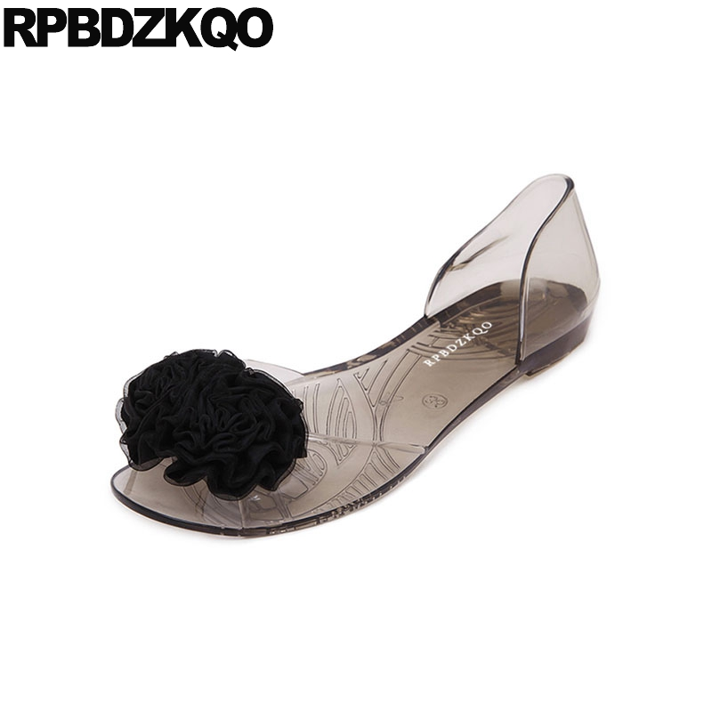 Female Women Sandals Flat Summer 2018 Transparent Shoes Flower Slip On Pvc Open Toe Jelly Cute Holiday Plastic Beach Embellished cresfimix women cute spring summer slip on flat shoes with pearl female casual street flats lady fashion pointed toe shoes