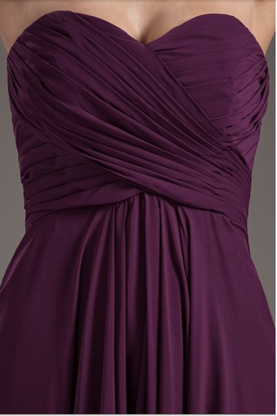 2017 Floor Length Off The Shoulder Pleated Lace up Bridesmaid Dresses 2017 Long Chiffon Purple Sweetheart Wedding Party Gowns 5