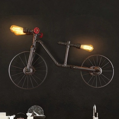 Retro Loft Style Industrial Vintage Wall Light For Home Bicycle Water Pipe Lamp Edison Wall Sconce