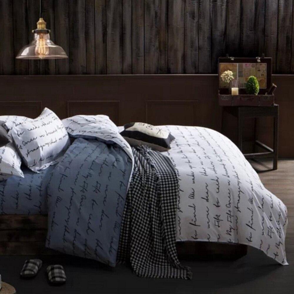 2  Printed Bedding Set three pcs Quilt Cowl Units Letters Bedding Set With Mattress-cover amd Pillocase Elegant Dwelling Textile Edredon Cowl HTB1mUgZinJYBeNjy1zeq6yhzVXak