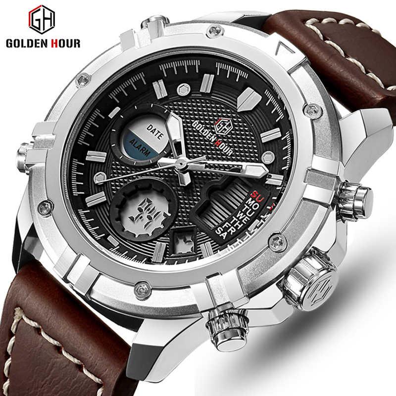 Роскошь мужская мода led цифровые спортивные кварцевые часы ferrari