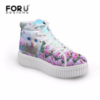 FORUDESIGNS Platform Shoes Woman Cute Animal Cat Prints Women Fashion High Top Casual Shoes Spring Autumn Female Creepers Flats