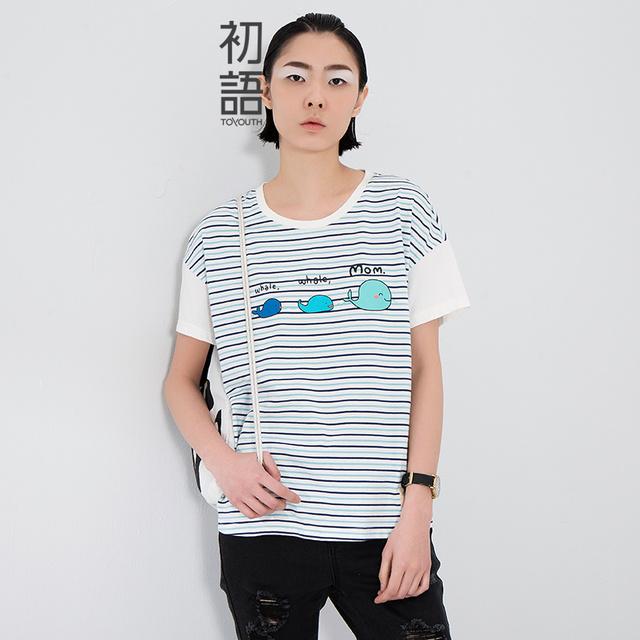 Toyouth 2017 nova arrrival mulheres verão t-shirt da forma solta o-pescoço stripe dos desenhos animados imprimir o logotipo camisa de algodão top feminino