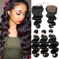 7A Peruvian Virgin Hair Body Wave Lace Closure With Bundles 4 Pcs/Lot Peruvian Body Wave With Closure 3 Bundles With Closure