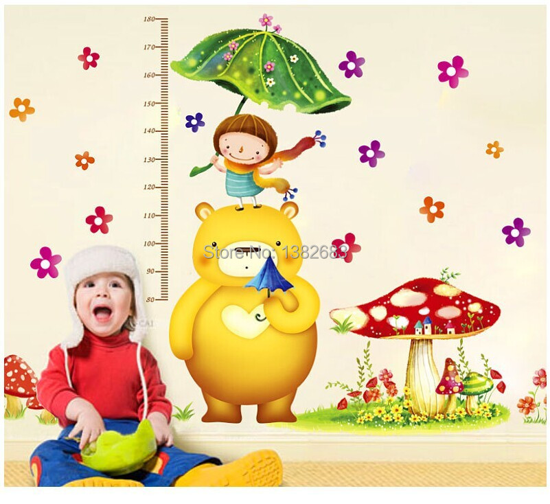 Scale Height Cartoon Little Girl Little Bear Wall Stickers Kids ...