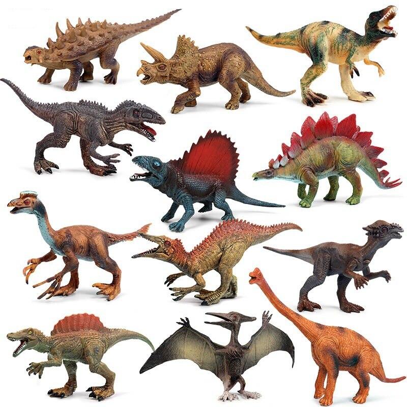 12 piezas 15-18 cm simulado sólido dinosaurio modelo juguetes de dinosaurio tiranosaurio Pterosaurio Tricerosaur