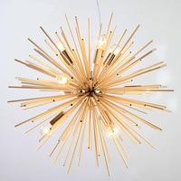 Post Modern Hedgehog Gold Pendant Lights Living Room Bedroom Led Radiation Sphere Art Personality Design Pendant