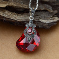 famous brand authentic 925 flowers Silver red Pendant Fashion retro White opal red crystal sweater Red corundum girlfriend gift