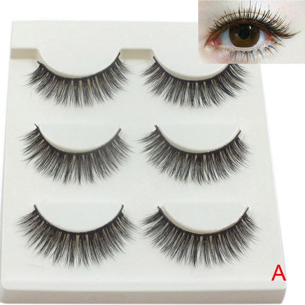 3 Pairs/lot Long Cross False Eyelashes Makeup Tool Beauty Natural Fake Thick Long Black Individual False Eye Lashes Extension
