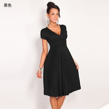 Marca 2019 nuevo vestido de verano Vintage Casual Sexy cuello en V Slim doble de gran oscilación de vestido de las mujeres Vestidos de vestido negro para la Oficina Vestidos