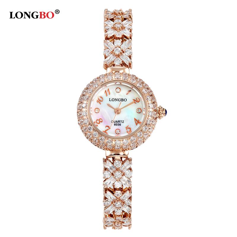 Prix pour De luxe Robe Montre Femmes LONGBO Marque Zircon Diamant Bijoux En Or Bracelet 30 m Étanche Dames Poignet Montres 6036 reloj mujer