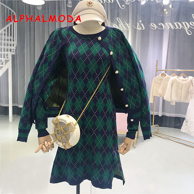 ALPHALMODA 2018 Autum Winter Women's Costume Classical Knitted Suits Single Breasted Plaid Coat+dress