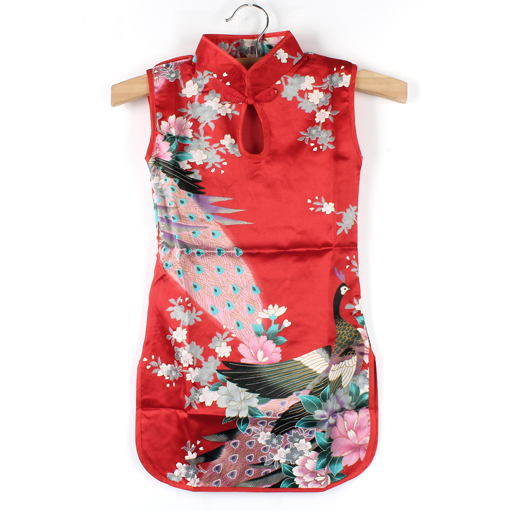 Summer Chinese Child Girls Baby Peacock Cheongsam Dress Qipao 2-8Y Clothes elegant floral peacock cheongsam kids baby child dress chinese qipao girls dress