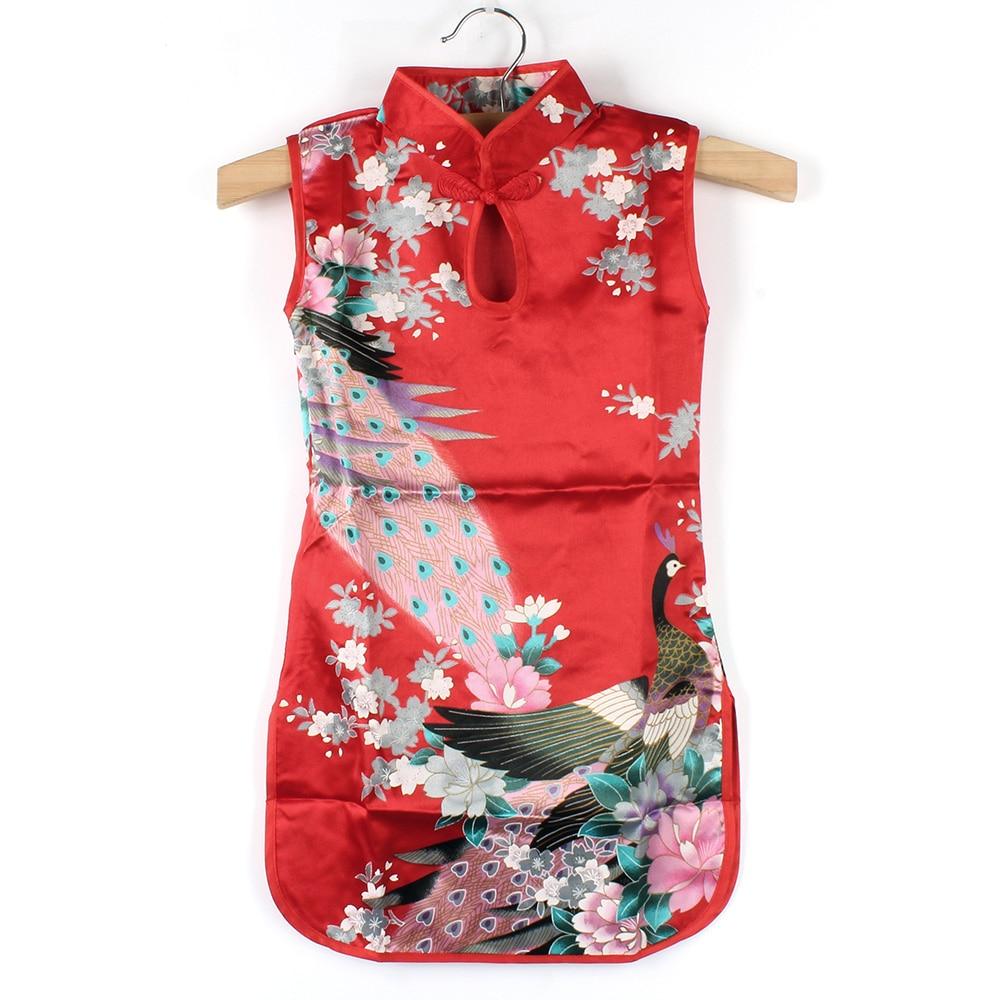 Summer Chinese Child Girls Baby Peacock Cheongsam font b Dress b font Qipao 2 8Y Clothes