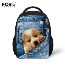 FORUDESIGNS Denim Pocket Animal Book Bags Kids Cute 3D Labra