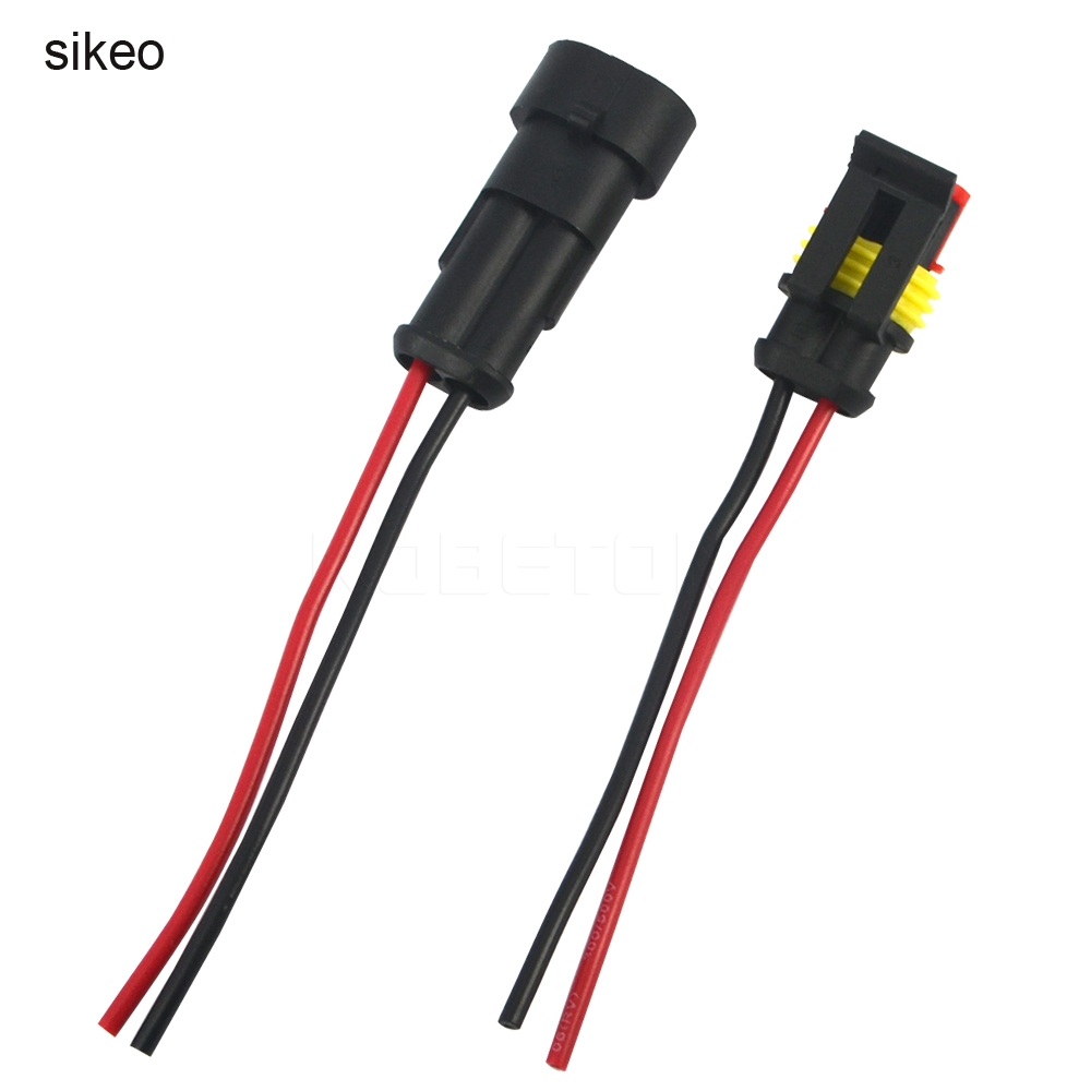 sikeo 5 sets Kit 2 Pin Way Waterproof Electrical Wire Connector Plug ...