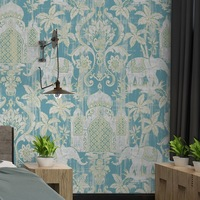 beibehang Southeast Asia Thai Style Wall Paper India Wind Elephant Pattern Blue Red Background Wall Waterproof Wallpaper