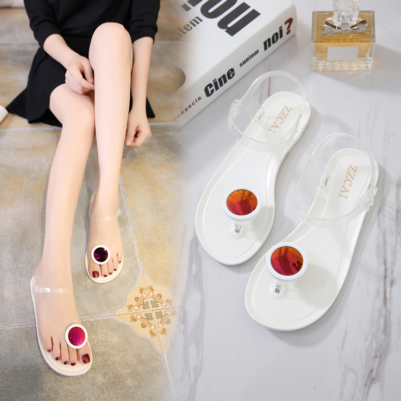 JINJOE Summer jelly sandal Eyeglass flower decoration Flat bottom heel slippers Pinch shoe Shoe Sands Leisure and comfort Bling