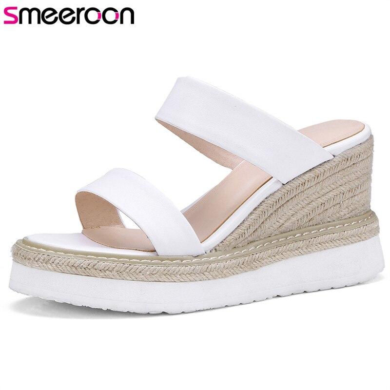 Smeeroon 2018 offre spéciale femmes sandales en cuir véritable sans lacet chaussures d'été simple élégant fête mariage chaussures à semelles compensées