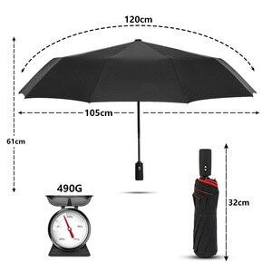 Image 2 - قوي يندبروف مزدوجة التلقائي 3 مظلة قابلة للطي الإناث الذكور 10K سيارة فاخرة كبيرة المظلة المطر النساء الرجال الأعمال المظلات