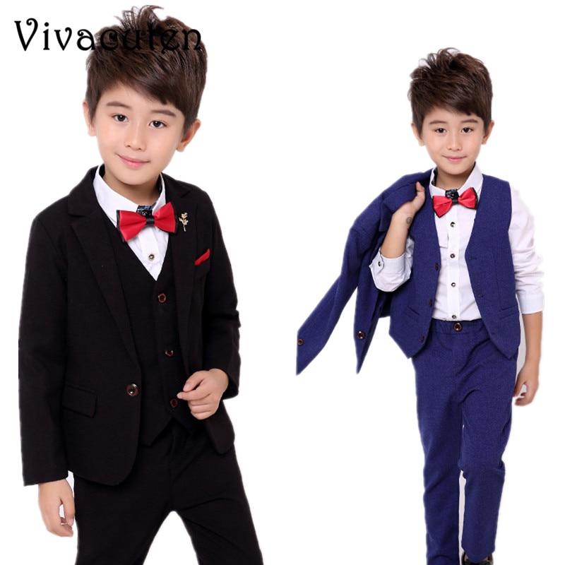 купить Boys Suits For Weddings Dress Kids Prom Gentleman Party Blazer Vest Pants 3pcs Tuxedo Clothing Set Child Formal Costume F021 по цене 2199.04 рублей