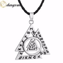 CHENGXUN Men's Vintage Necklace Multi Layer Triangle Geometric Pendant Norse Valknut Rune Boys Necklace Viking Odin Amulet Gift(China)