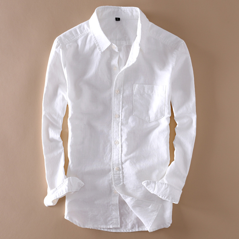 White Shirt Collar Streetwear Long-Sleeve Mens Linen Elegant Male Cotton Summer Tops title=