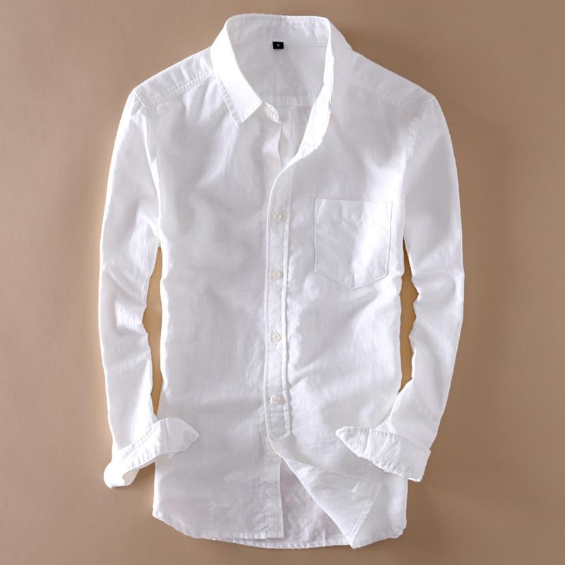 Cotton Mens Linen White Shirt Top Long Sleeve Turn Down Collar Man Shirts Tops Summer 2020 Elegant Solid Streetwear Clothes Male