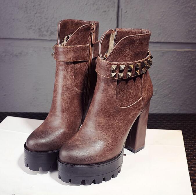 d7ee0c31 Gray Pu Caliente camil Zapatos Nueva Diseño Cómoda Alto Botines black brown  Remaches Cuero Elegantes Tacón Mujer Redonda Punta ...