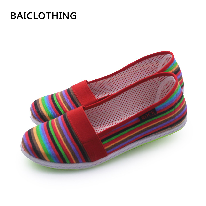 BAICLOTHING Sapatos Femininos Women Round Toe Slip-on Loafer Female Cute Stripe Cloth Flat Shoes Ladies Casual Soft Red Shoes cresfimix sapatos femininos women casual soft pu leather pointed toe flat shoes lady cute summer slip on flats soft cool shoes