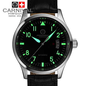 Luminous waterproof military sports automatic mechanical watches full steel leather strap fashion casual mens luxury brand watch
