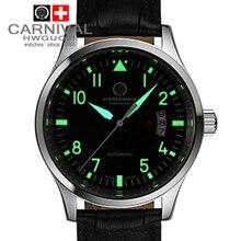 Luminoso impermeable del deporte militar mecánico automático relojes correa de cuero de moda casual para hombre marca de relojes de lujo de acero completo