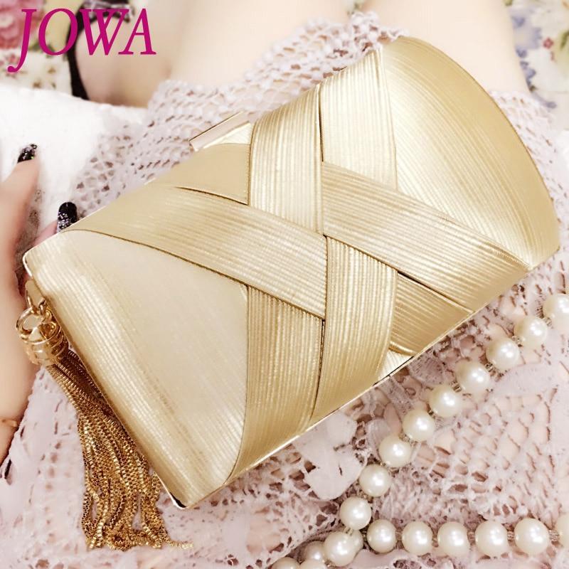 2017 New Women's Fashion Evening Bags Socialite Chain Tassel Handbag Wedding Party Clutch Night Gold Purse Brige Package 2 Color