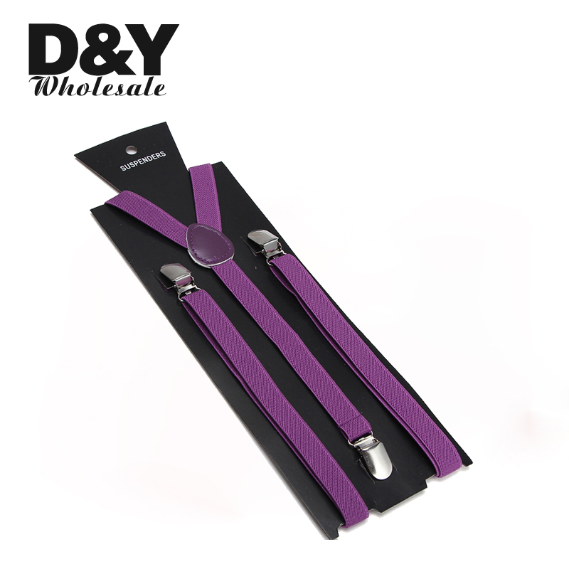 Women Men'S Shirt Suspenders For Trousers Pants Holder 1.5cm Wide Purple Clip-on Elastic Braces Slim Y-back Gallus Straps Gift