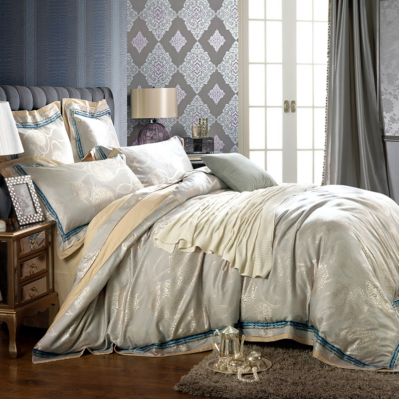 4/6pcs Collection bedding sets Queen King Size Bed-In-A-Bag Silk Satin Cotton blend Jacquard Pattern Duvet Cover set4/6pcs Collection bedding sets Queen King Size Bed-In-A-Bag Silk Satin Cotton blend Jacquard Pattern Duvet Cover set